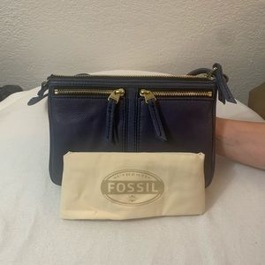 Fossil Elise Double Zip Navy Blue Leather CB Purse
